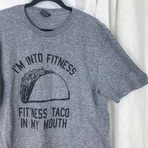 Anvil I'm into fitness taco grey graphic tee shirt